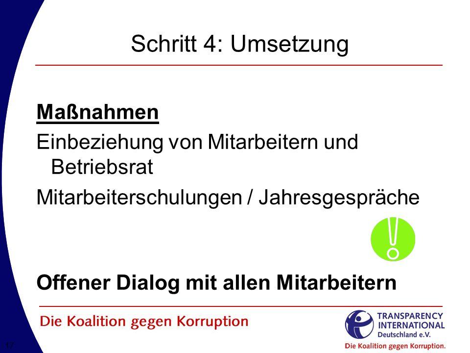 Schritt 4: Umsetzung Maßnahmen