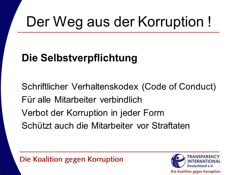 Der Weg aus der Korruption !