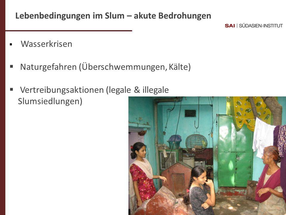 Lebenbedingungen im Slum – akute Bedrohungen
