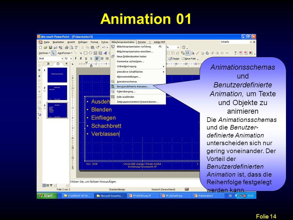 Animation 01 Animationsschemas und Benutzerdefinierte Animation, um Texte und Objekte zu animieren.