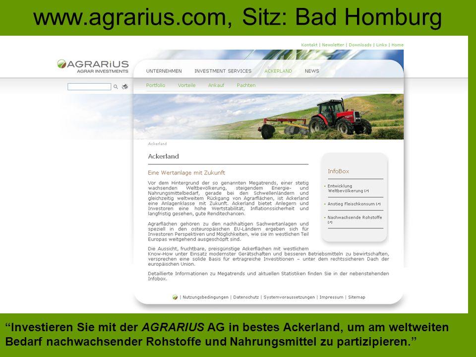 www.agrarius.com, Sitz: Bad Homburg