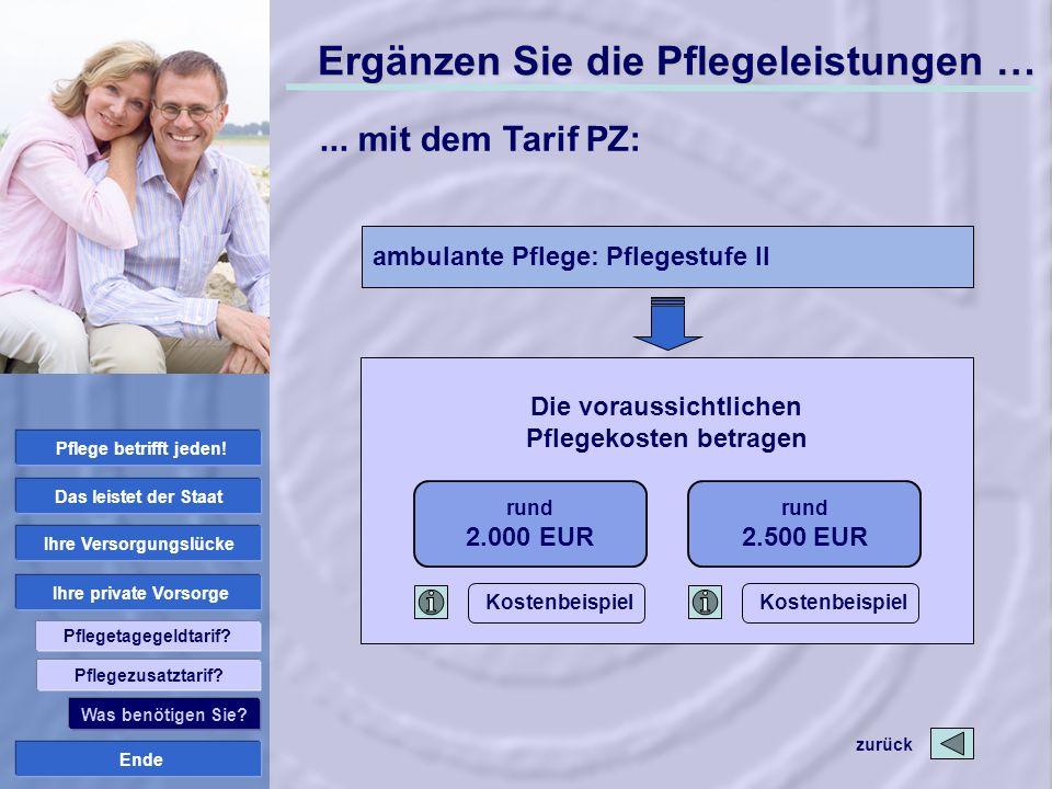 Die voraussichtlichen Pflegekosten betragen