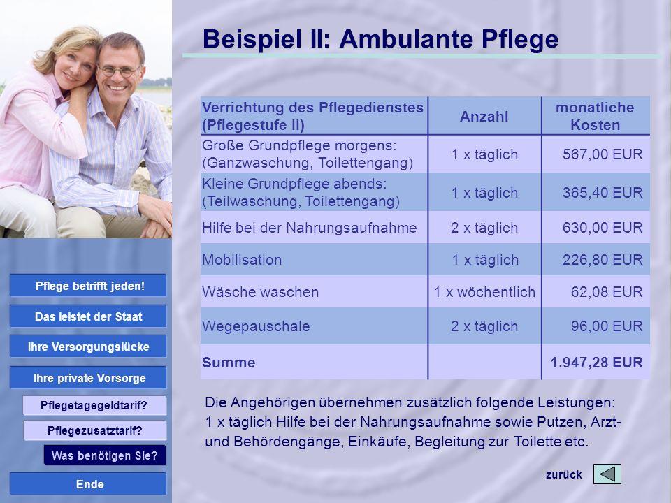 Beispiel II: Ambulante Pflege