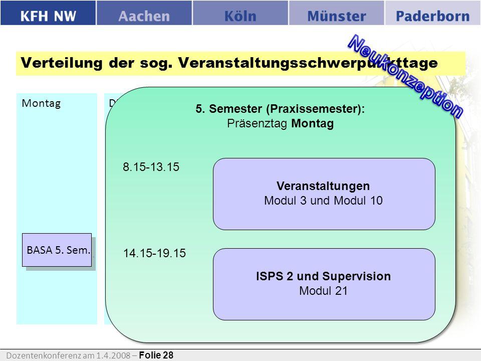 Verteilung der sog. Veranstaltungsschwerpunkttage