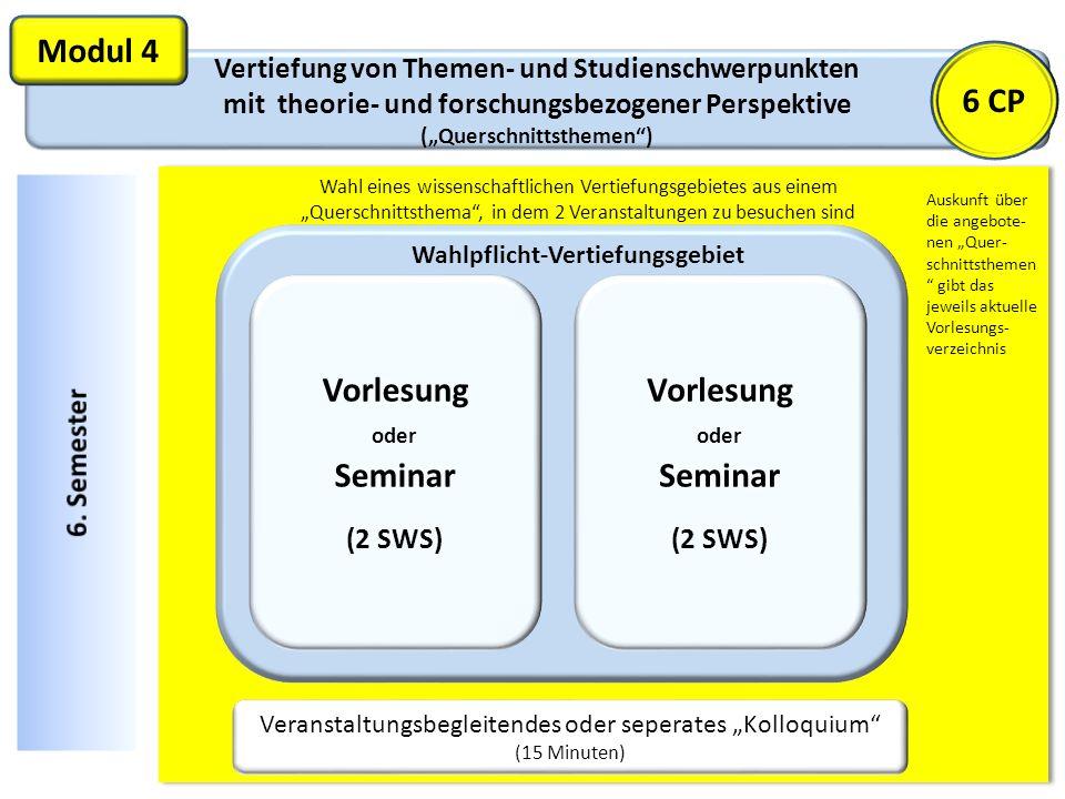 Modul 4 6 CP Vorlesung oder Seminar Vorlesung oder Seminar