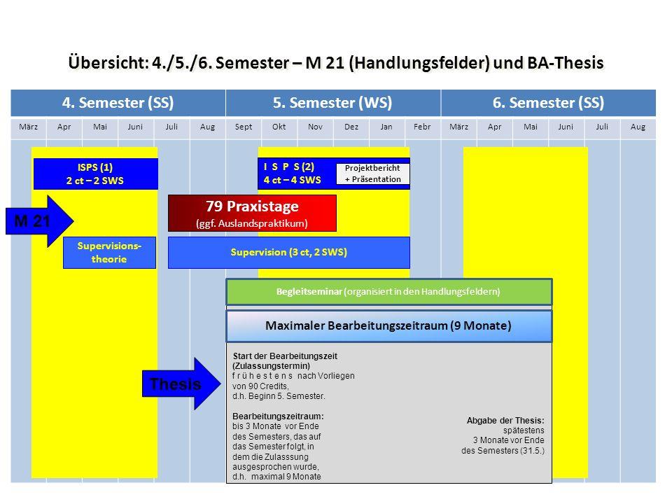 Übersicht: 4./5./6. Semester – M 21 (Handlungsfelder) und BA-Thesis