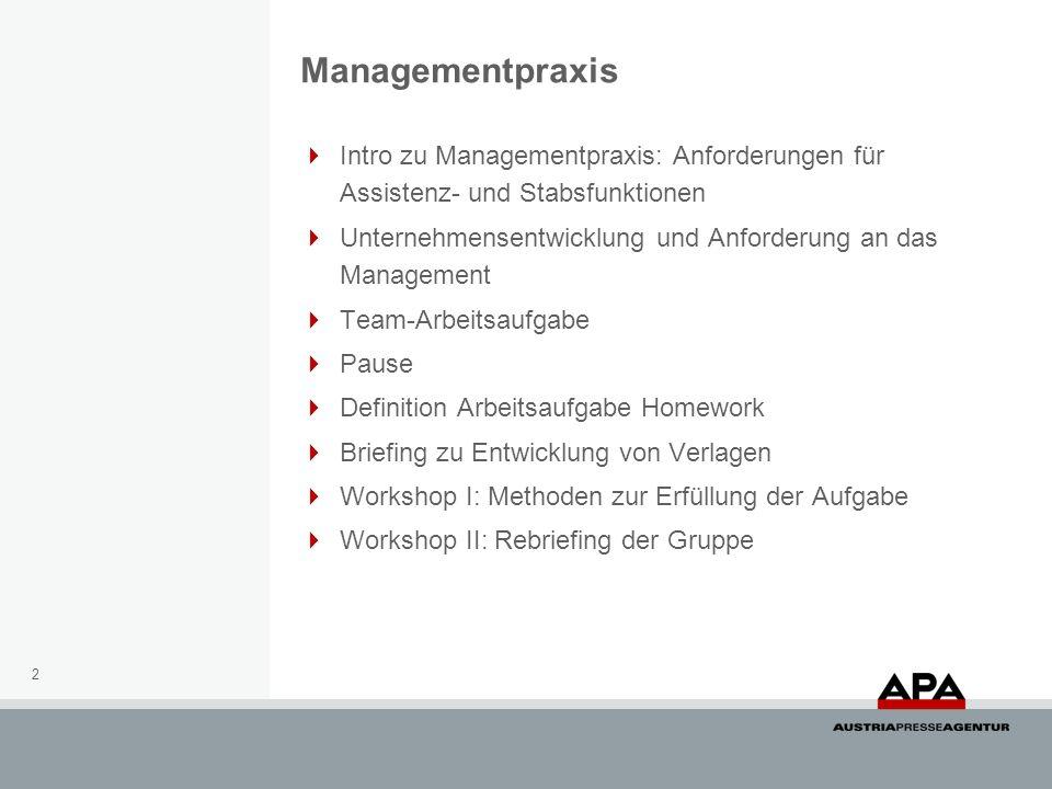 Managementpraxis Intro zu Managementpraxis: Anforderungen für Assistenz- und Stabsfunktionen.