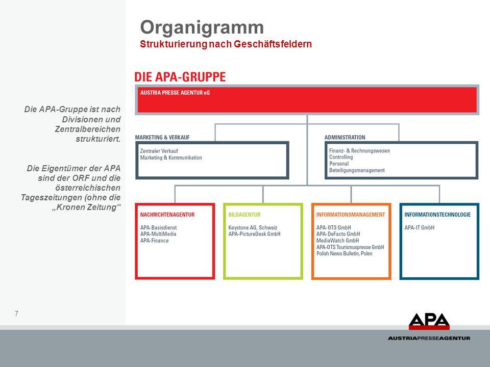 Organigramm Strukturierung nach Geschäftsfeldern