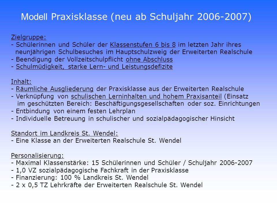 Modell Praxisklasse (neu ab Schuljahr 2006-2007)