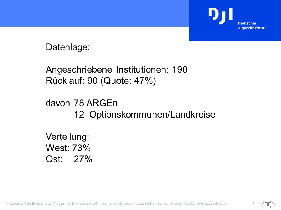 Datenlage: Angeschriebene Institutionen: 190. Rücklauf: 90 (Quote: 47%) davon 78 ARGEn. 12 Optionskommunen/Landkreise.