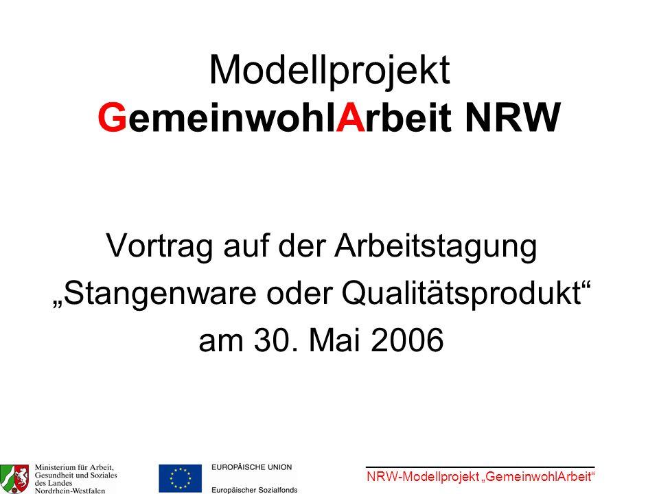 Modellprojekt GemeinwohlArbeit NRW