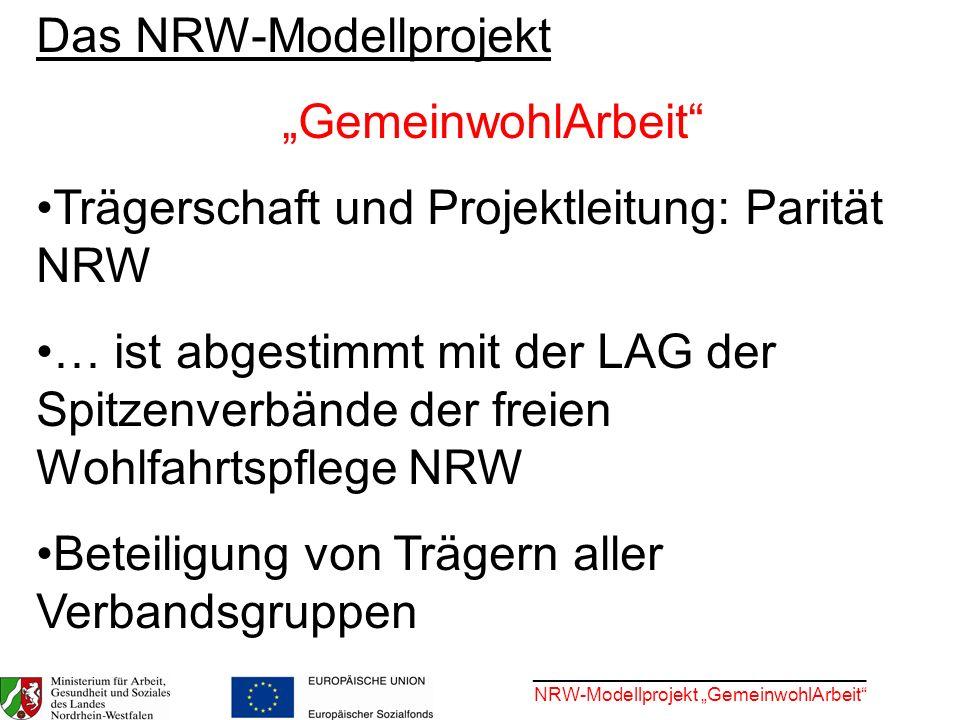 """Das NRW-Modellprojekt """"GemeinwohlArbeit"""
