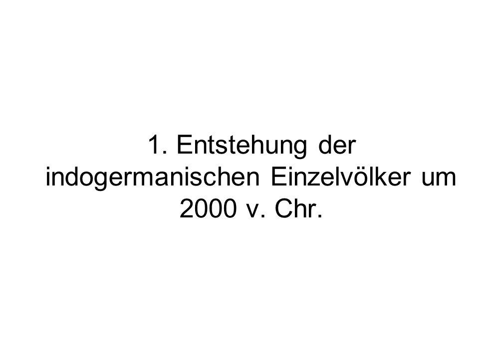 1. Entstehung der indogermanischen Einzelvölker um 2000 v. Chr.