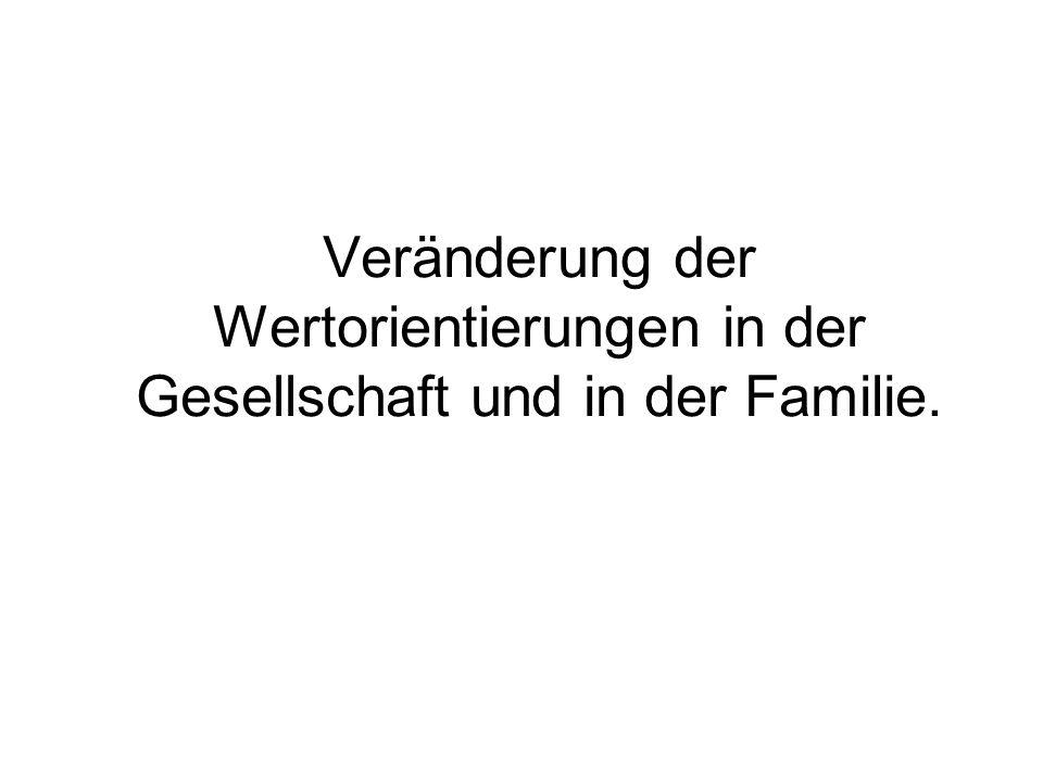 Veränderung der Wertorientierungen in der Gesellschaft und in der Familie.