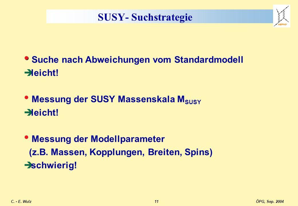 SUSY- Suchstrategie Suche nach Abweichungen vom Standardmodell leicht!