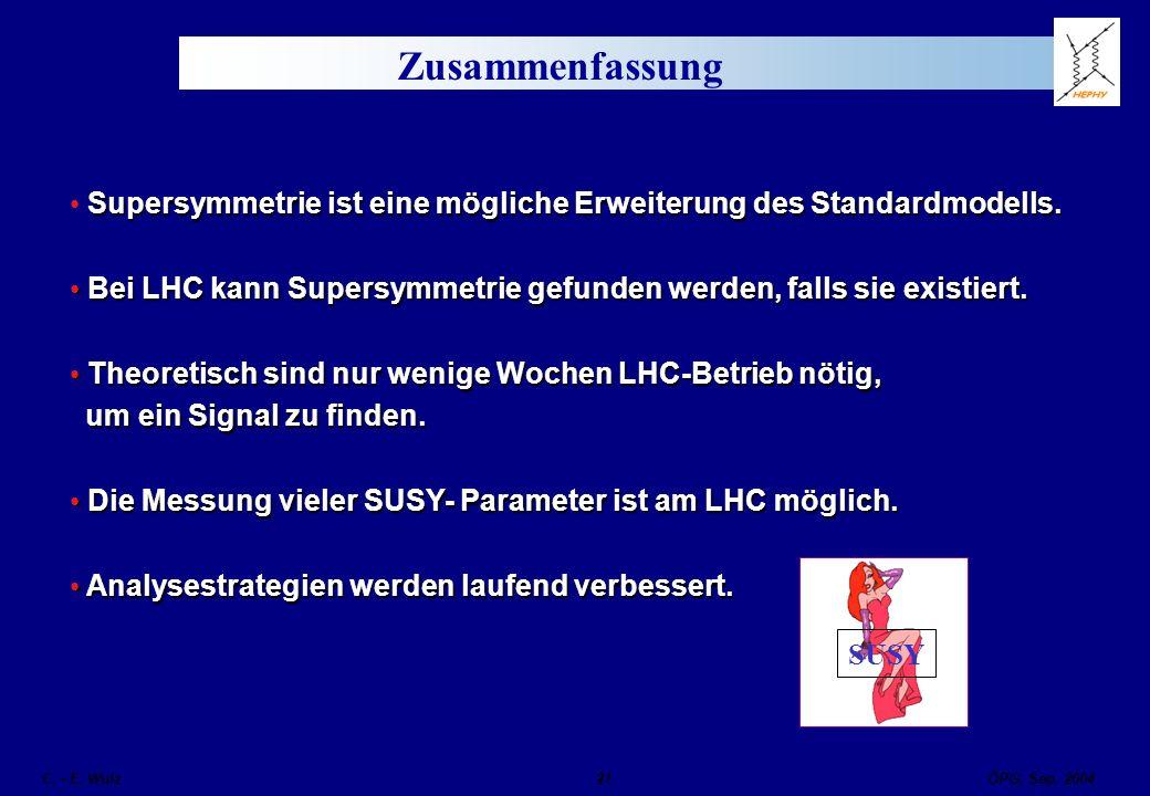 Zusammenfassung Supersymmetrie ist eine mögliche Erweiterung des Standardmodells. Bei LHC kann Supersymmetrie gefunden werden, falls sie existiert.