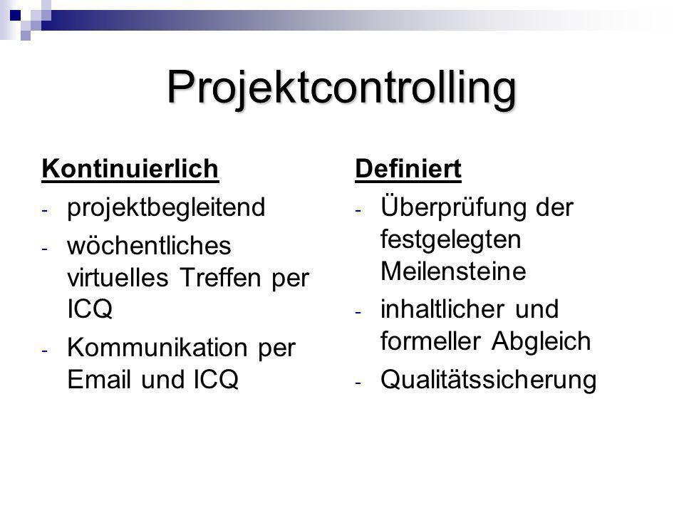 Projektcontrolling Kontinuierlich projektbegleitend