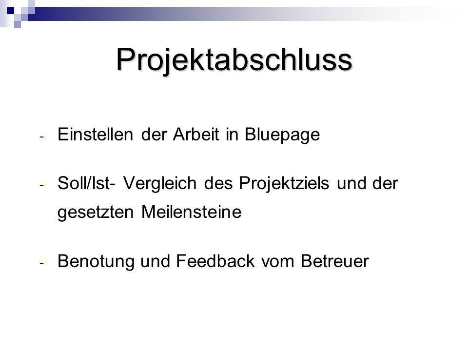 Projektabschluss Einstellen der Arbeit in Bluepage