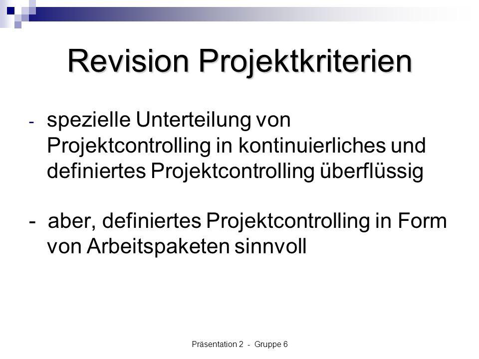 Revision Projektkriterien