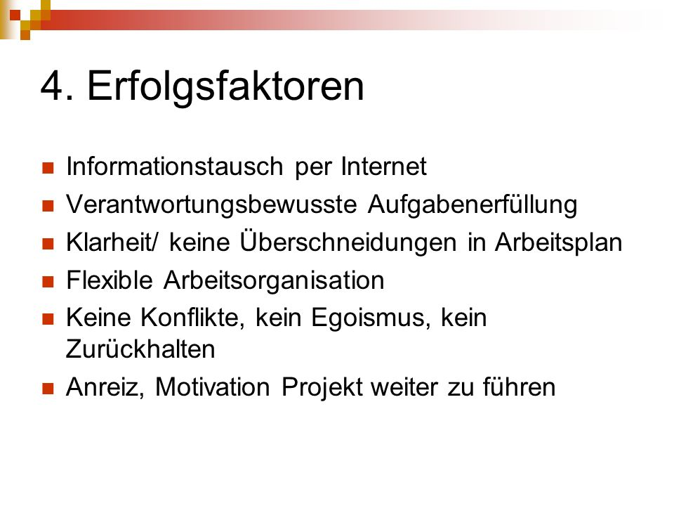 4. Erfolgsfaktoren Informationstausch per Internet