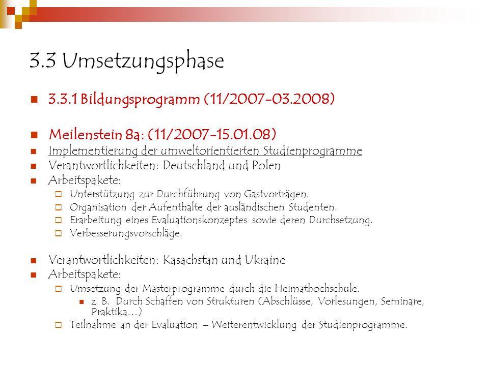 3.3 Umsetzungsphase 3.3.1 Bildungsprogramm (11/2007-03.2008)