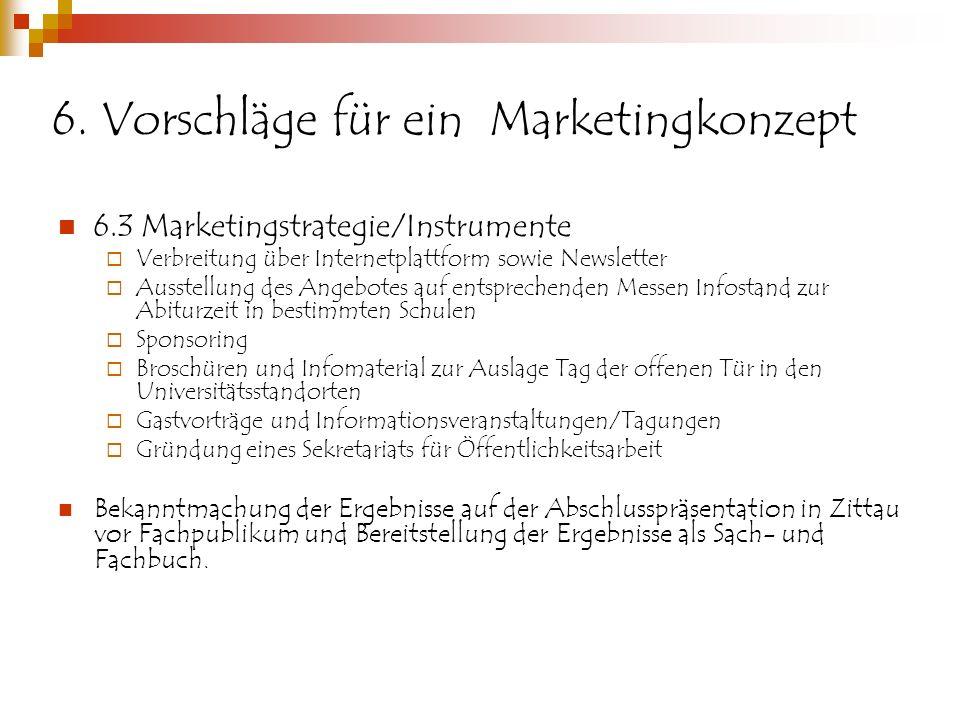 6. Vorschläge für ein Marketingkonzept