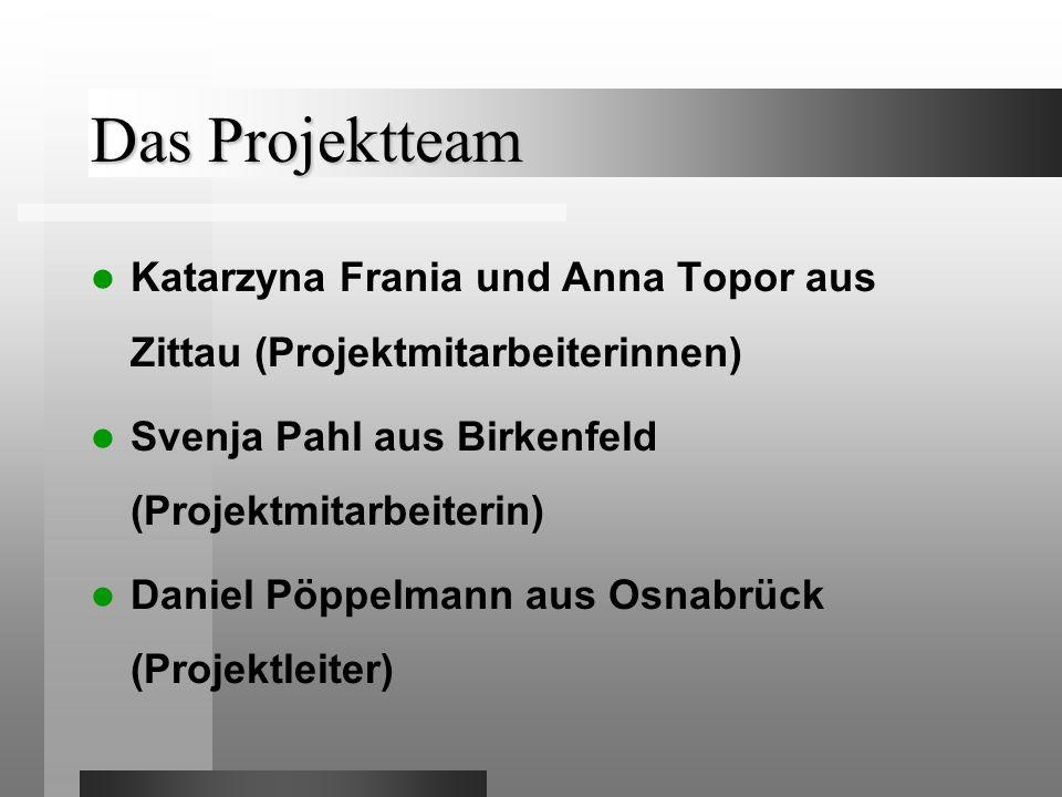 Das Projektteam Katarzyna Frania und Anna Topor aus Zittau (Projektmitarbeiterinnen) Svenja Pahl aus Birkenfeld (Projektmitarbeiterin)