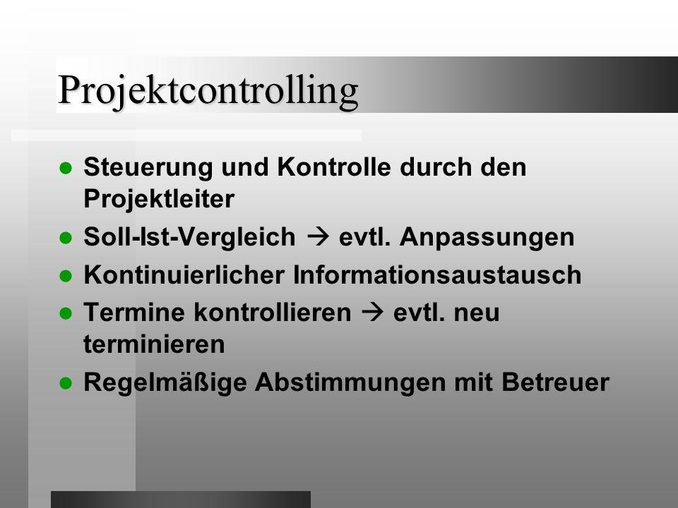 Projektcontrolling Steuerung und Kontrolle durch den Projektleiter