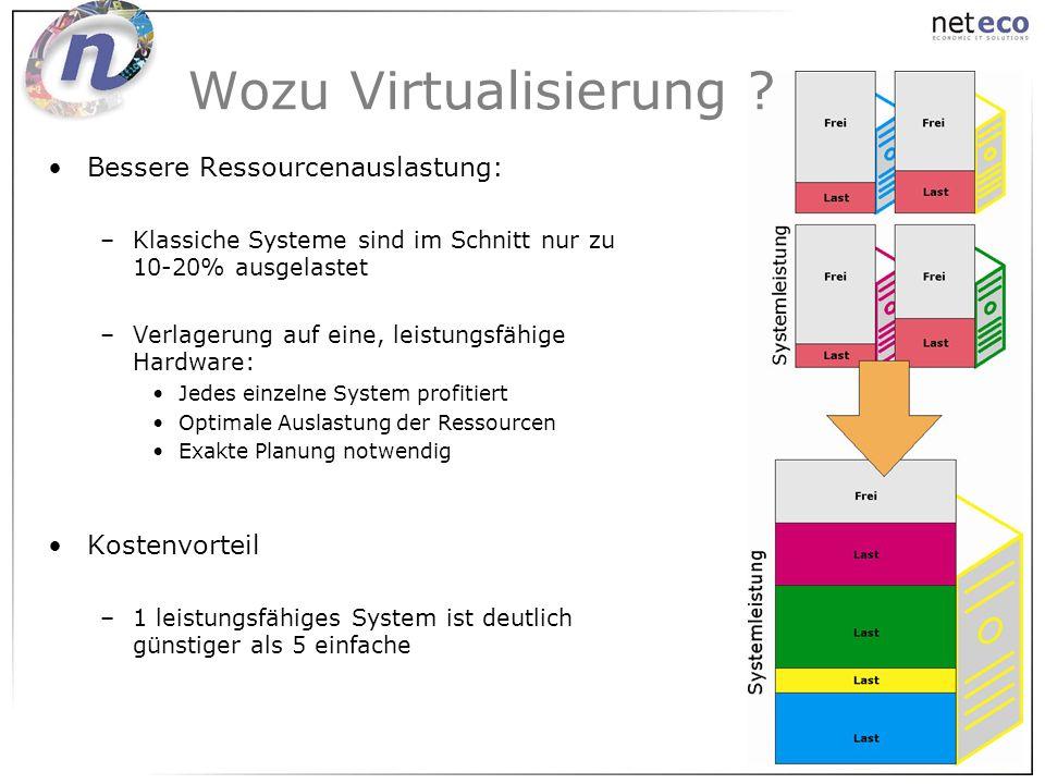 Wozu Virtualisierung Bessere Ressourcenauslastung: Kostenvorteil