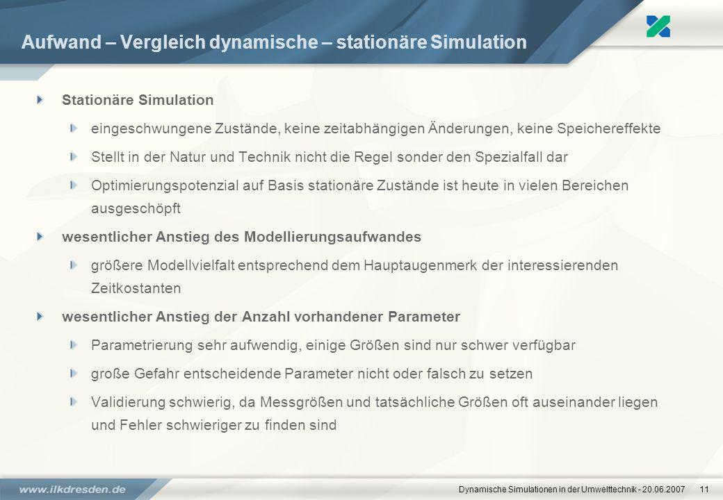 Aufwand – Vergleich dynamische – stationäre Simulation