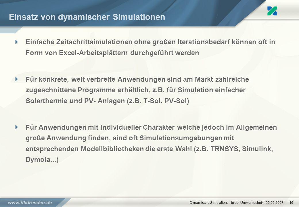 Einsatz von dynamischer Simulationen