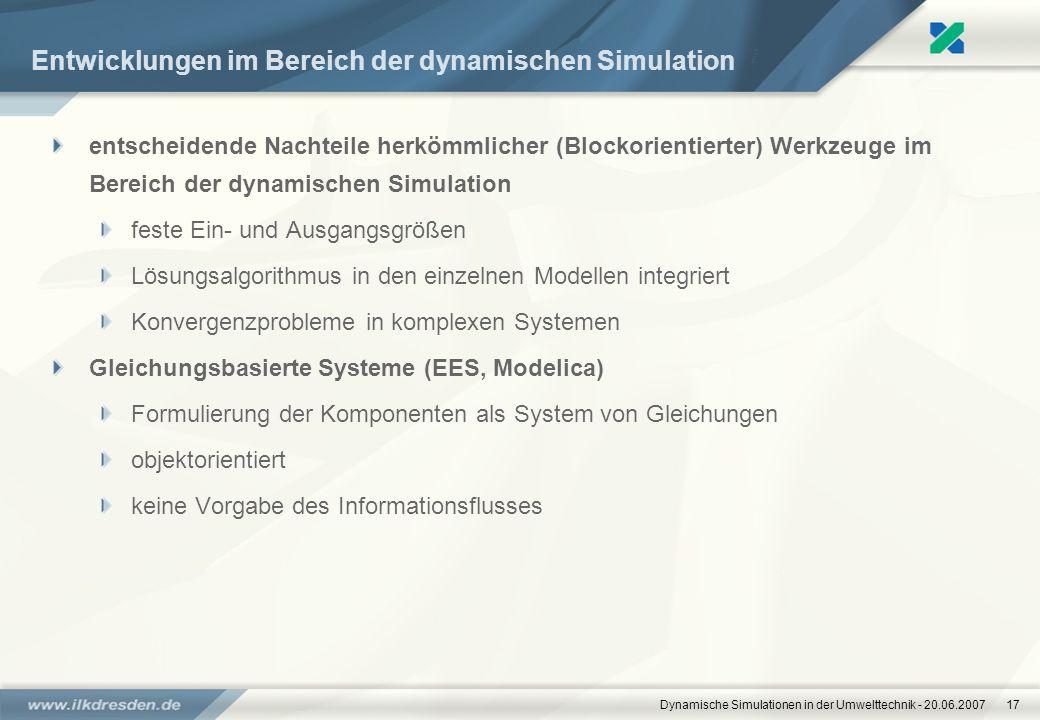Entwicklungen im Bereich der dynamischen Simulation