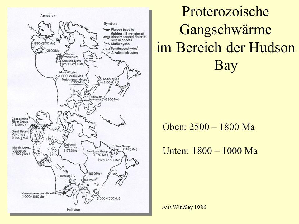 Proterozoische Gangschwärme im Bereich der Hudson Bay