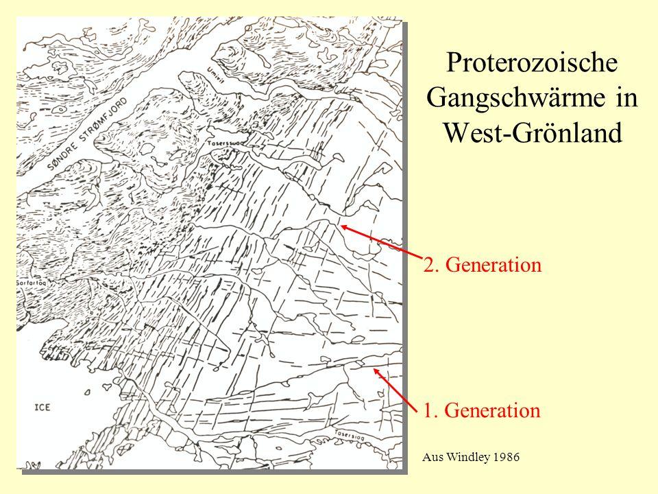 Proterozoische Gangschwärme in West-Grönland