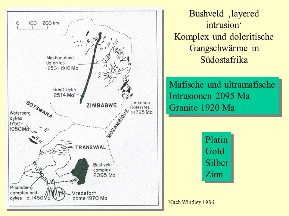 Mafische und ultramafische Intrusionen 2095 Ma Granite 1920 Ma