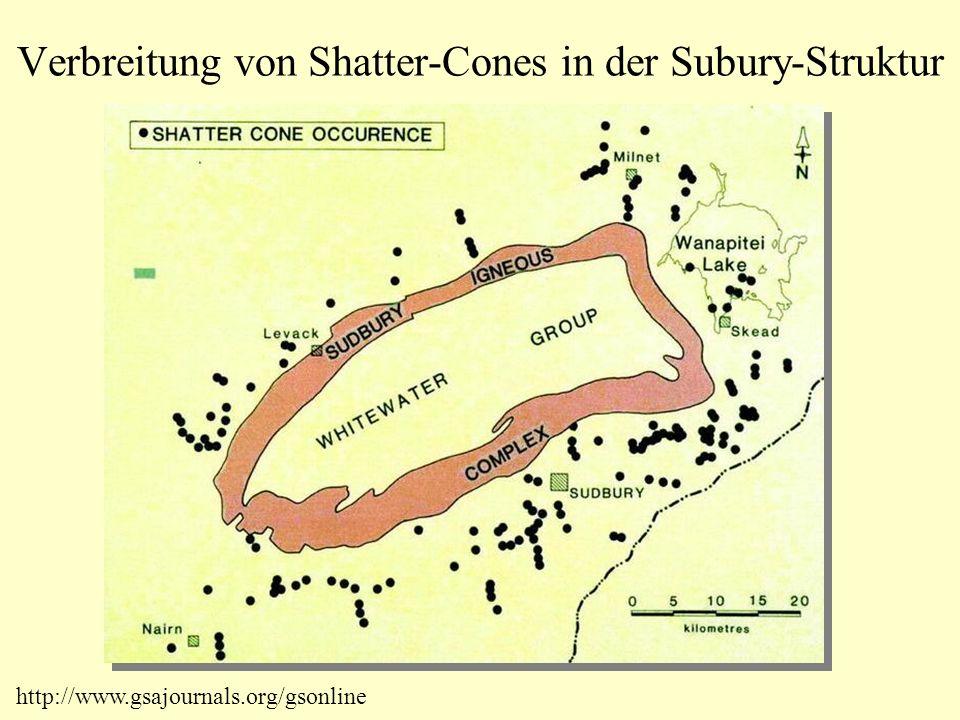 Verbreitung von Shatter-Cones in der Subury-Struktur