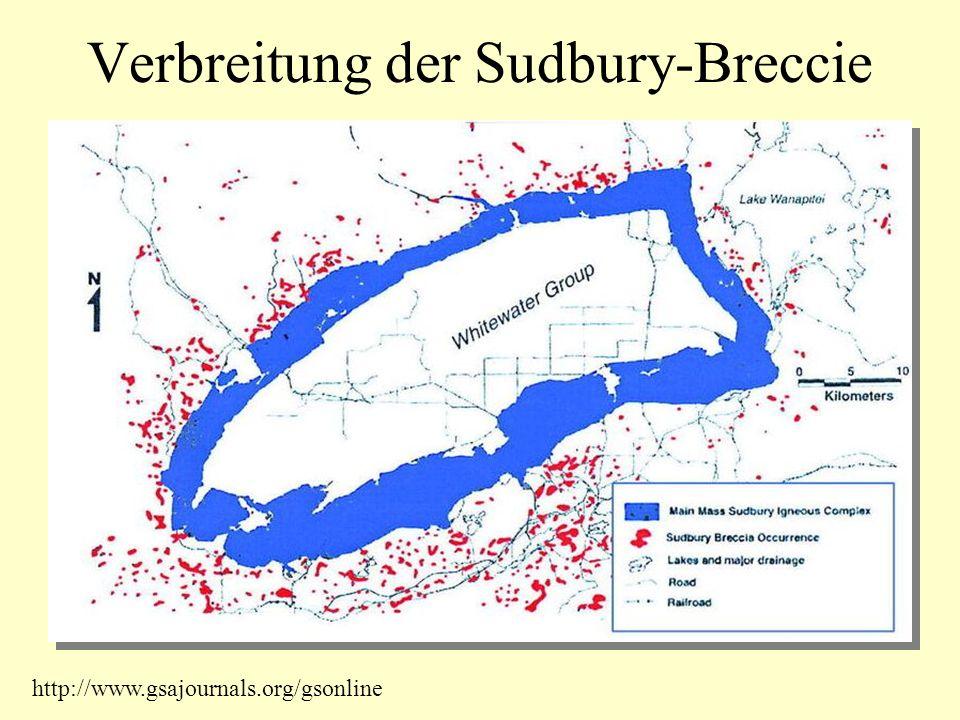 Verbreitung der Sudbury-Breccie