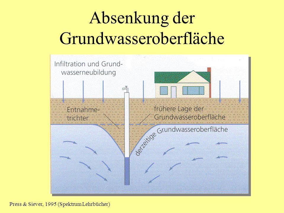 Absenkung der Grundwasseroberfläche