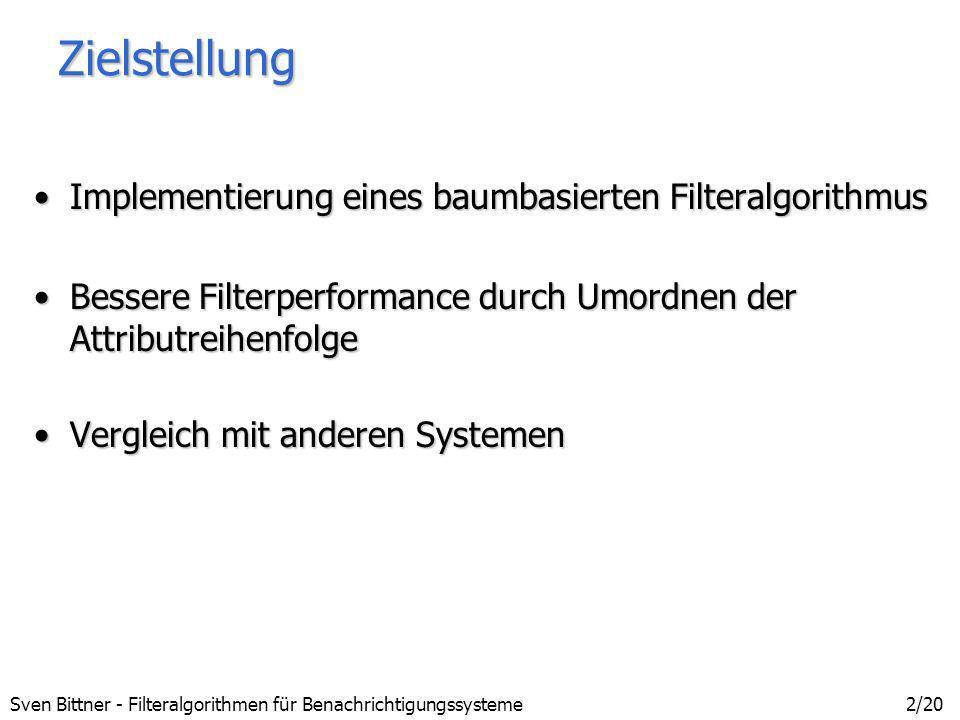 Zielstellung Implementierung eines baumbasierten Filteralgorithmus