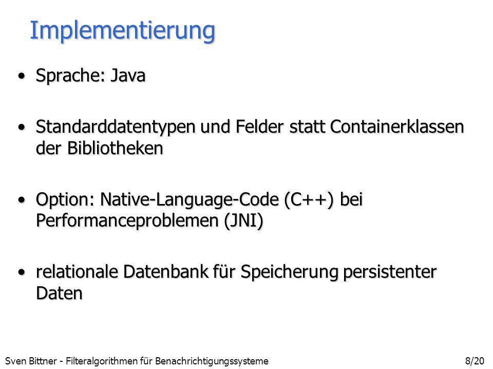 Implementierung Sprache: Java