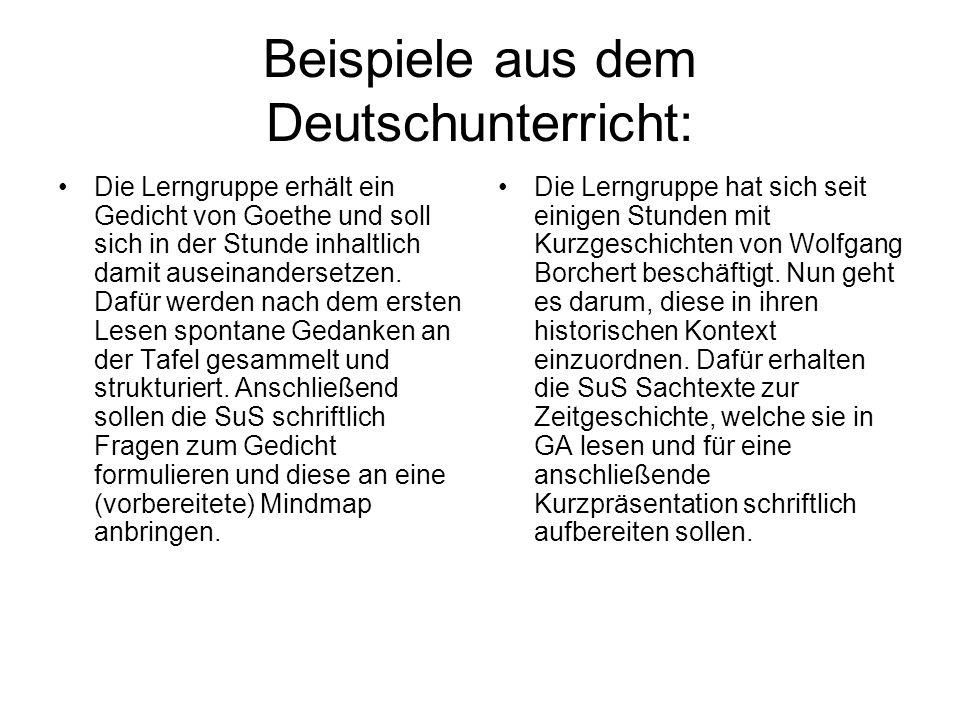 Beispiele aus dem Deutschunterricht: