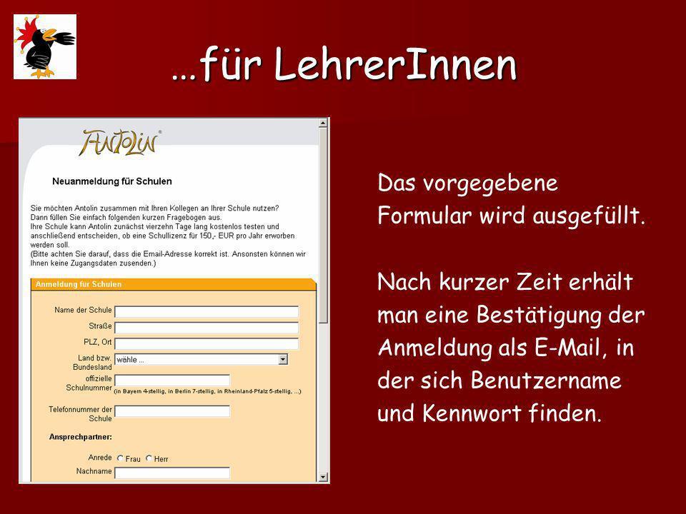 …für LehrerInnen Das vorgegebene Formular wird ausgefüllt.