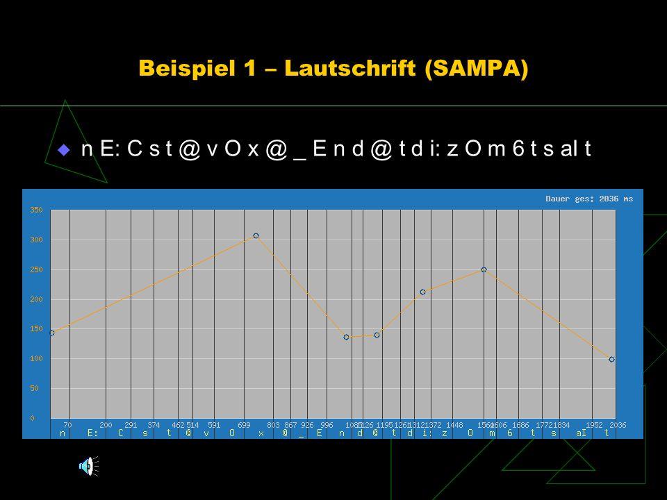 Beispiel 1 – Lautschrift (SAMPA)