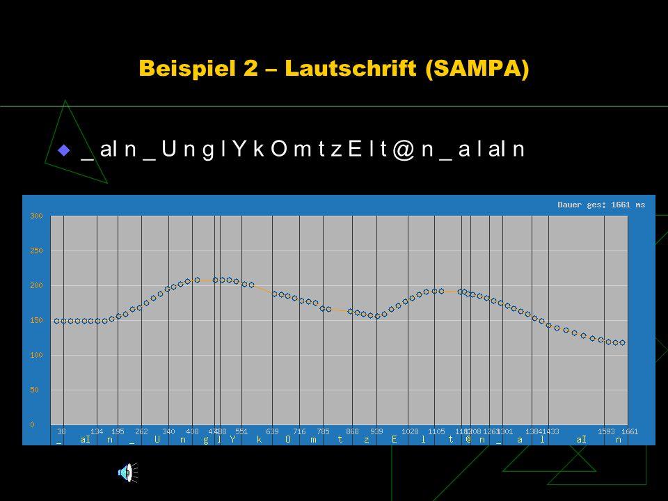Beispiel 2 – Lautschrift (SAMPA)