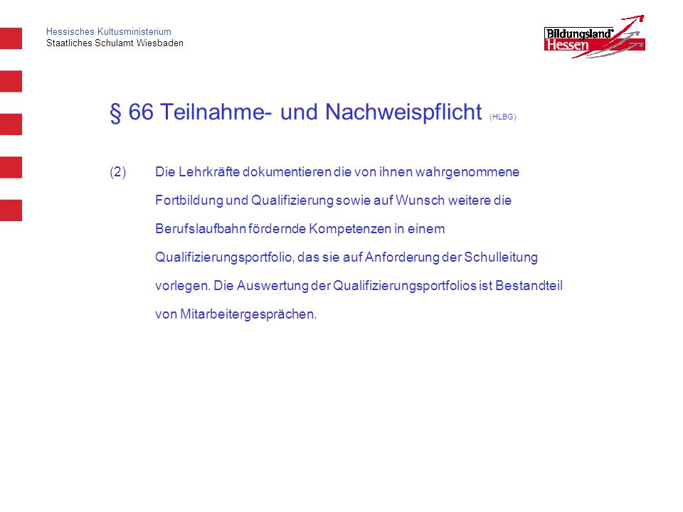 § 66 Teilnahme- und Nachweispflicht (HLBG)