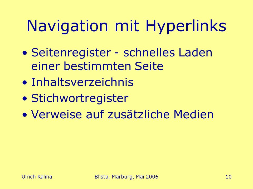 Navigation mit Hyperlinks