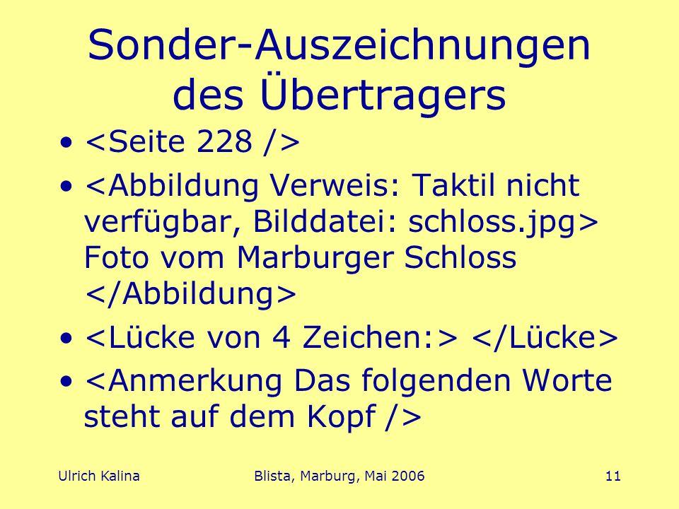 Sonder-Auszeichnungen des Übertragers
