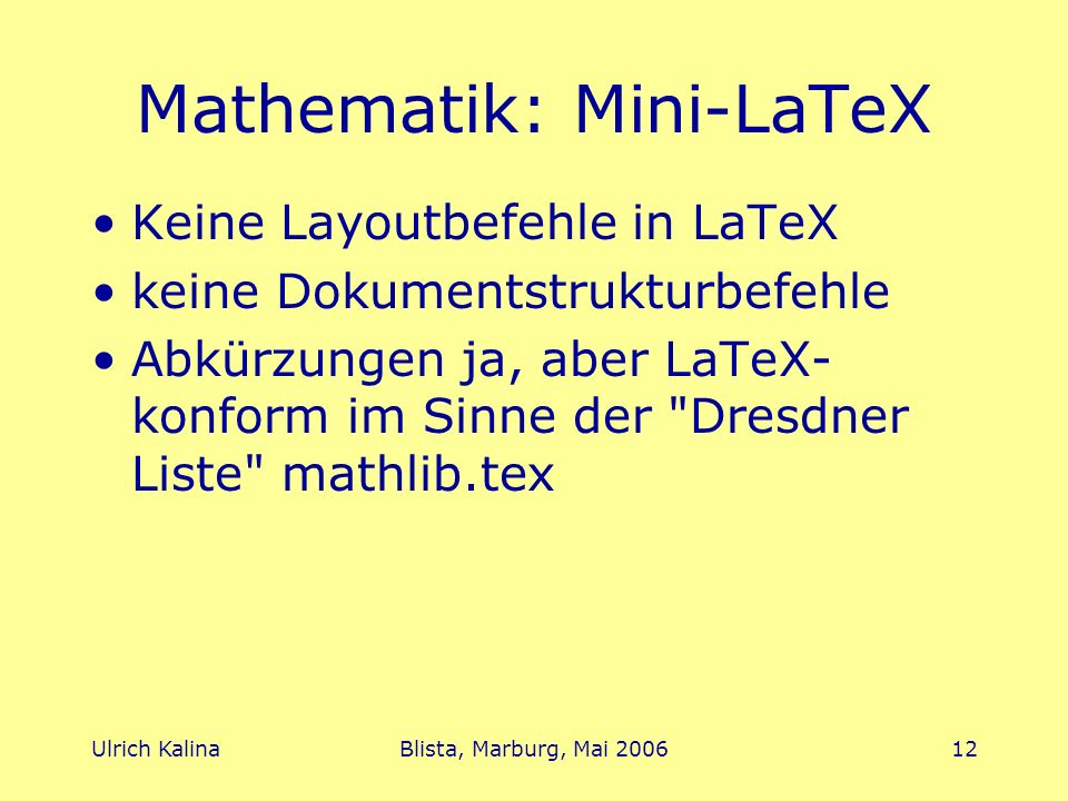 Mathematik: Mini-LaTeX