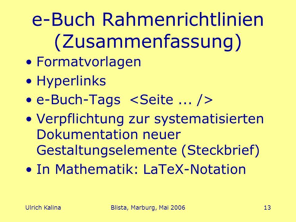 e-Buch Rahmenrichtlinien (Zusammenfassung)