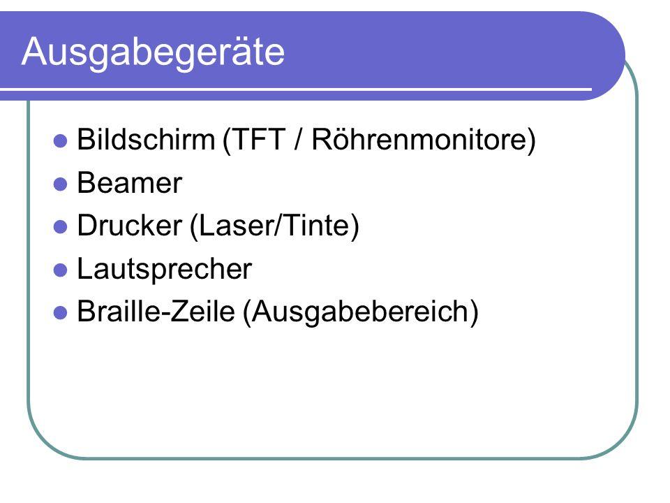 Ausgabegeräte Bildschirm (TFT / Röhrenmonitore) Beamer